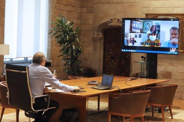 El presidente Quim Torra, en reunión por videoconferencia con el comité de seguimiento de covid-19