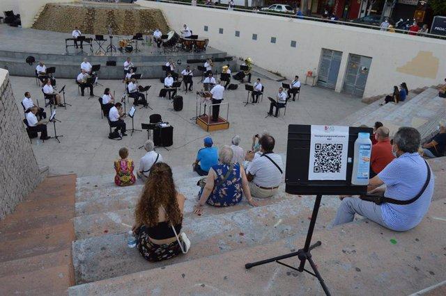 La banda municipal de música en un reciente concierto en Almería