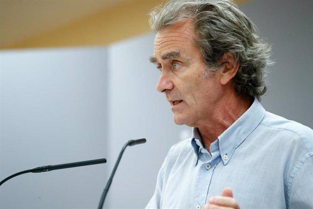 El director del Centro de Coordinación de Alertas y Emergencias Sanitarias, Fernando Simón, ofrece una rueda de prensa para informar de la evolución de la COVID-19, en la Sede del Ministerio de Sanidad, en Madrid (España) a 24 de agosto de 2020.