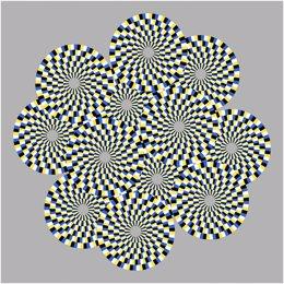 Ilusión óptica en la que círculos parecen girar en diferentes direcciones.
