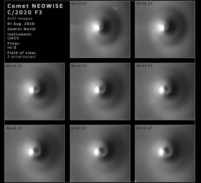 VÍDEO El cometa NEOWISE, captado expulsando gas en espiral