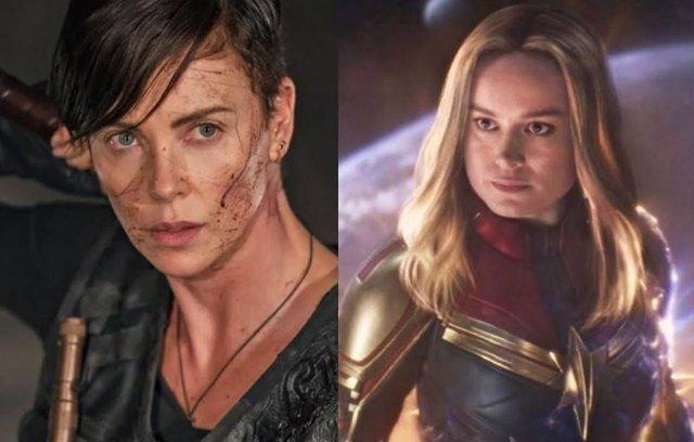 Charlize Theron en La Vieja Guardia y Bire Larson como Capitana Marvel