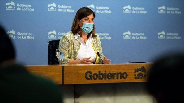 La portavoz del Gobierno, Sara Alba, en comparecencia de prensa