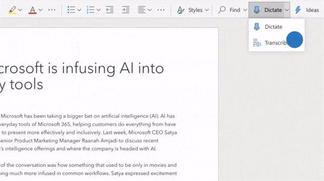 Microsoft incorpora la transcripción en Word