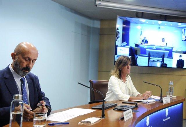 El ministre de Salut, Joan Martínez Benazet, i la ministra d'Educació i Ensenyament Superior, Ester Vilarrubla.