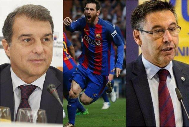 Joan Laporta, Leo Messi i  Josep Maria Bartomeu