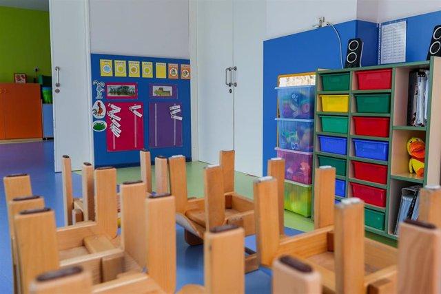 Mesas y sillas recogidas en un aula del Centro de Educación Infantil La Gacela