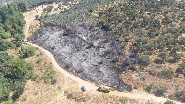 Paraje de Alanís afectado por el incendio