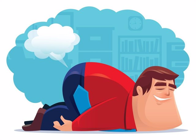 Businessman farting and sleeping in office