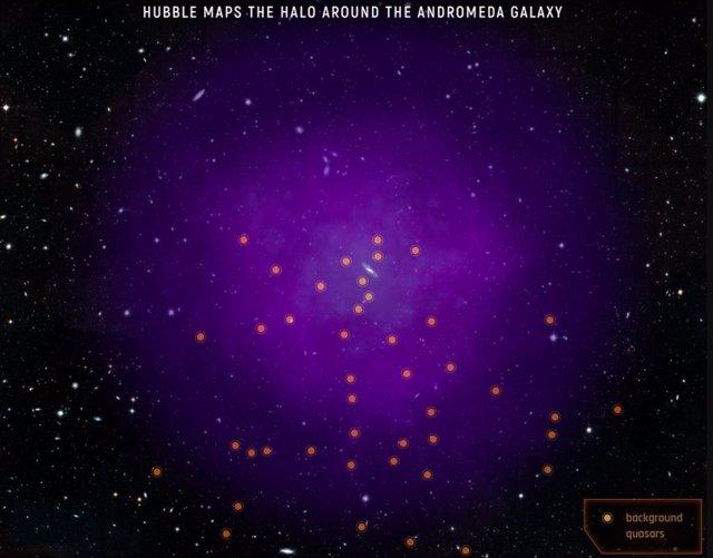 Esta ilustración muestra la ubicación de los 43 cuásares que los científicos usaron para sondear el halo gaseoso de Andrómeda
