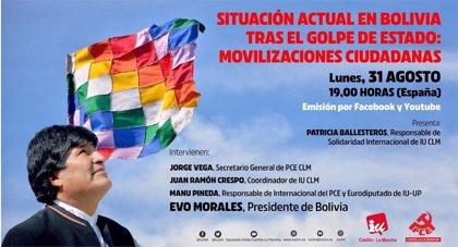 Evo Morales participará en un acto sobre la situación en Bolivia organizado por IU C-LM y el PCE