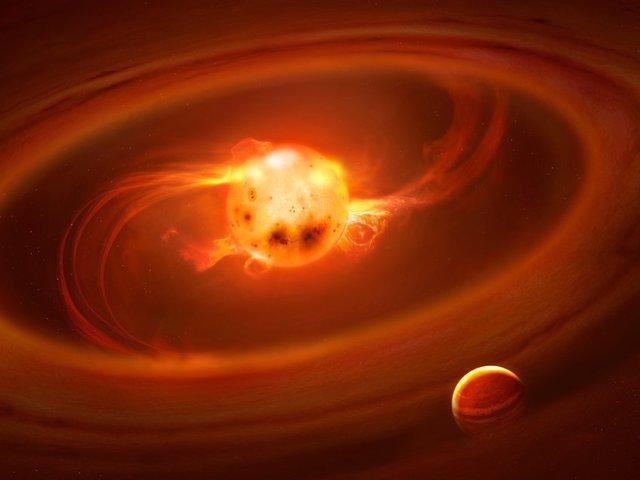 El gas llega a las estrellas jóvenes por las líneas del campo magnético