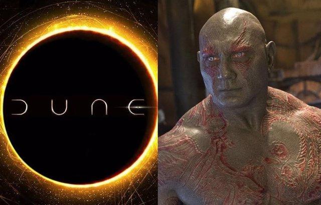Dave Bautista en Guardianes de la Galaxia junto al logo de Dune
