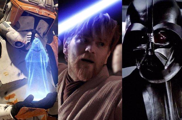 El Comandante Cody, Obi-Wan Kenobi y Darth Vader en Star Wars