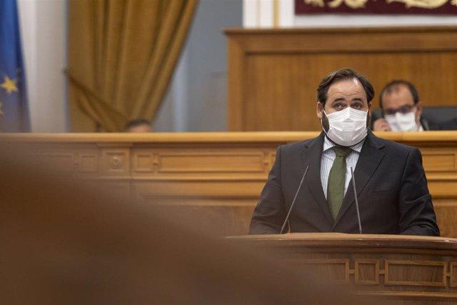 El presidente del PP, Paco Núñez, en el pleno de las Cortes