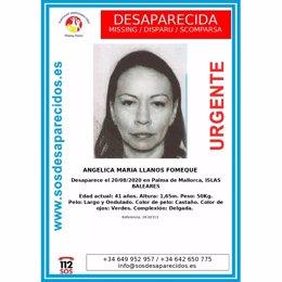Cartel de búsqueda de Angélica María Llanos Fomeque.