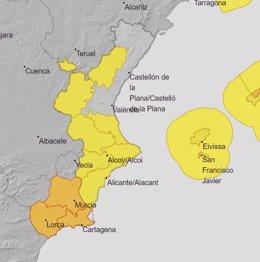 Avisos amarillos por tormentas este sábado en la Comunitat Valenciana