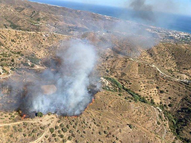 Incendio forestal delcarado en Moclinejo (Málaga)