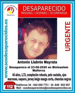 Imagen de Antonio Llabrés difundida por SOS Desaparecido.
