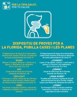 La Conselleria de Salut comença aquest dilluns un garbellat massiu als barris de Pubilla Casis, la Florida i Els Planes a L'Hospitalet de Llobregat (Barcelona).