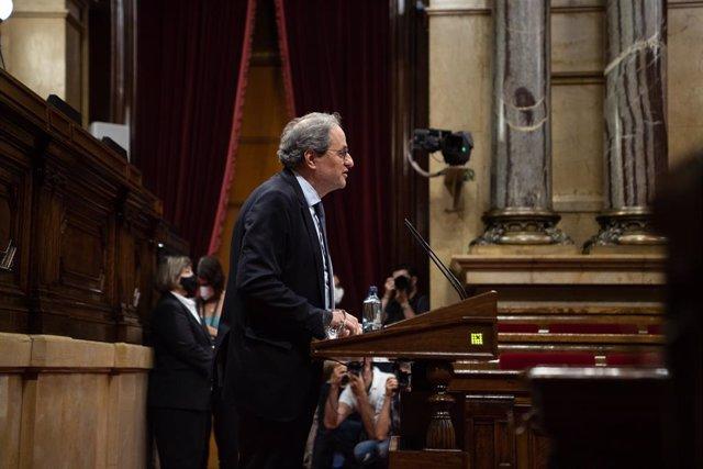 El president de la Generalitat, Quim Torra, durant la seva intervenció en el ple del Parlament.