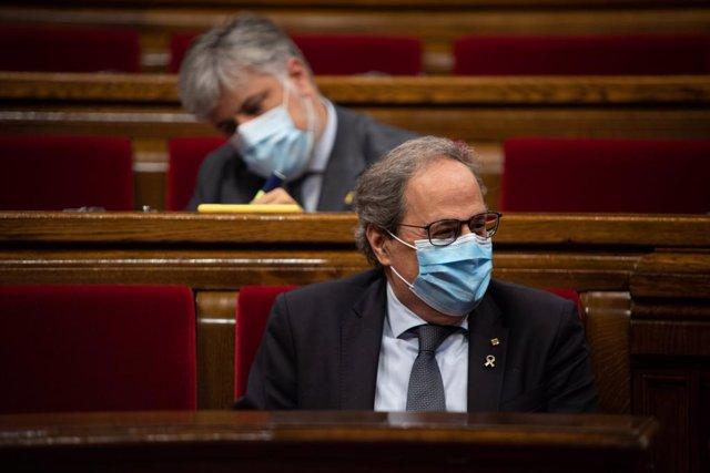 El president de la Generalitat, Quim Torra, durant un ple al Parlament.
