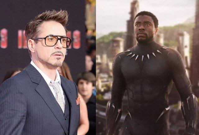 El actor Robert Downey Jr junto a Chadwick Boseman en el papel de Black Panther