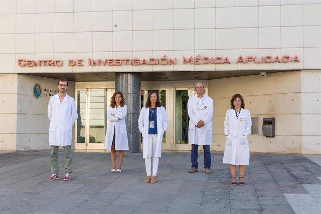 Francesco Marchese, Teresa Lozano, Maite Huarte, Juan José Lasarte y Sandra Jovanna González, investigadores del CIMA de la Universidad de Navarra.
