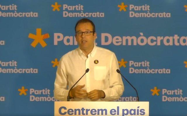 El portaveu del PDeCAT, Marc Solsona, en una roda de premsa aquest dilluns després de la reunió executiva del partit