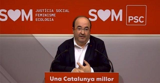 El primer secretari del PSC, Miquel Iceta, aquest dilluns en roda de premsa.