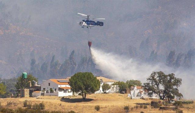Miembros del Infoca continúan las labores de extinción del incendio forestal de Almonaster la Real en Zalamea la Real (Huelva).