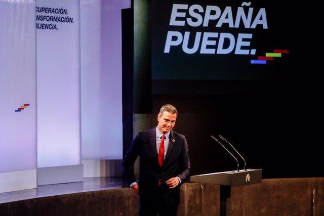 El president del Govern espanyol, Pedro Sánchez, després d'oferir una conferència