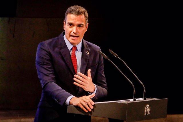 El president del Govern espanyol, Pedro Sánchez, en una conferència.