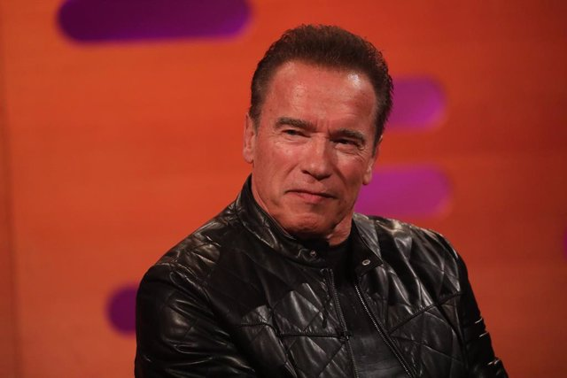 17 October 2019, England, London: Austrian-American Arnold Schwarzenegger reacts during the filming for the Graham Norton Show at BBC Studioworks 6 Television Centre. Photo: Isabel Infantes/PA Wire/dpa