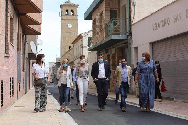 La presidenta del Gobierno de Navarra, María Chivite, visita obras realizadas recientemente en Ribaforada.