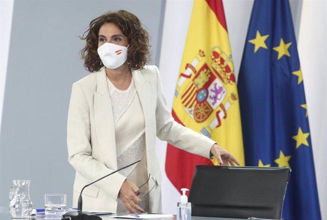 La ministra portavoz y de Hacienda, María Jesús Montero, a su llegada para ofrecer una rueda de prensa posterior al Consejo de Ministros en Moncloa, en Madrid (España), a 1 de septiembre de 2020.