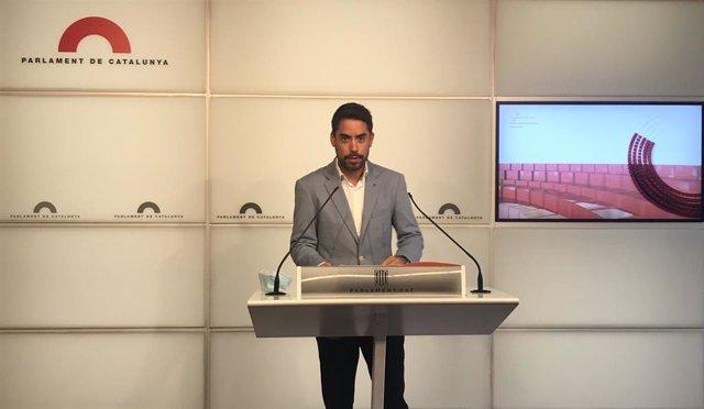 El diputado de Cs en el Parlament David Mejía en rueda de prensa el 1 de septiembre de 2020.