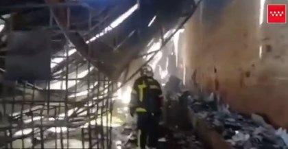 Incendio sin heridos un silo de serrín en Arganda del Rey
