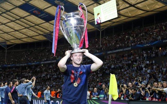 El futbolista Ivan Rakitic celebra la Lliga de Campions del 2015