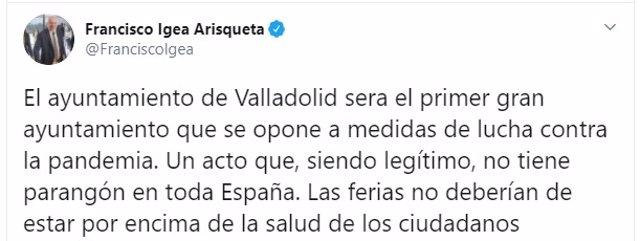Captura del tuit del vicepresidente y portavoz de la Junta de Castilla y León, Francisco Igea.