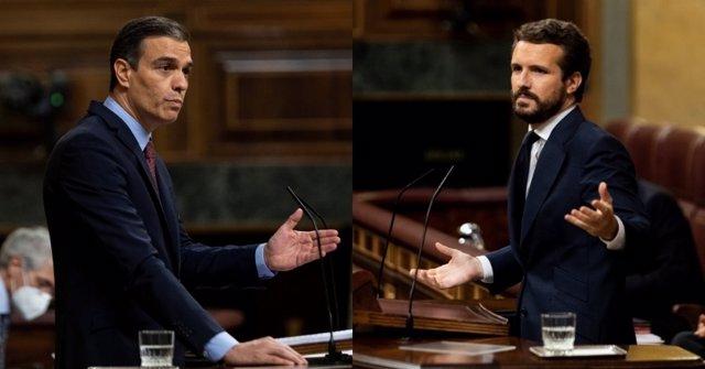 Montaje del presidente del Gobierno, Pedro Sánchez, y del líder del PP, Pablo Casado, durante el pleno del Congreso