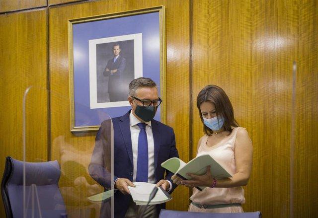 El presidente de la comisión de estudio sobre la recuperación económica y social de Andalucía a causa de la pandemia del Covid-19 y diputado de Vox, Manuel Gavira (i), junto a la diputada Ana Vanesa García (d),  presenta el dictamen de la comisión en el P