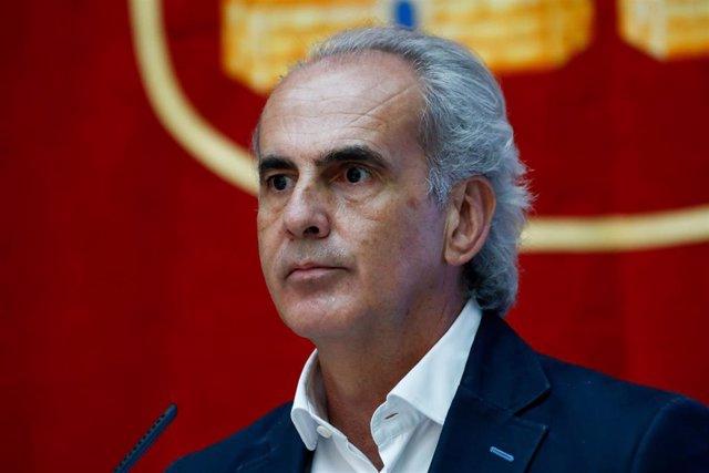 El consejero de Sanidad de la Comunidad de Madrid, Enrique Ruiz Escudero, durante la presentación de la estrategia del Gobierno regional para la vuelta a las aulas, en la Real Casa de Correos, en Madrid (España) a 25 de agosto de 2020.