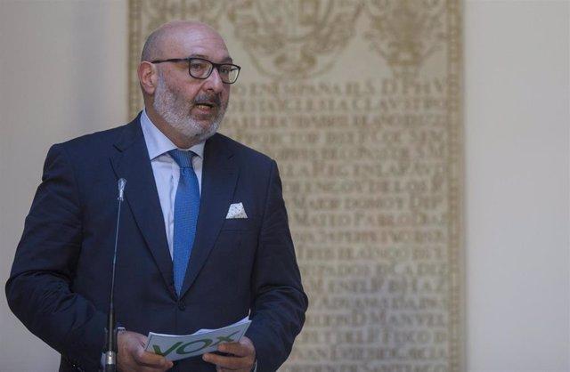 El portavoz del grupo parlamentario Vox, Alejandro Hernández, comparece en rueda de prensa tras la reunión con el presidente de la Junta de Andalucía. En Sevilla (Andalucía, España), a 02 de septiembre de 2020.