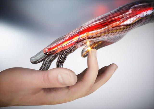 Una imagen conceptual de piel electrónica que puede detectar el tacto, el dolor y el calor.