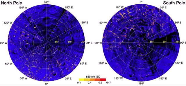 Mapa de hematita en la luna: un color más rojo significa más hematita