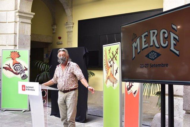 El pallasso professional Tortell Poltrona durant la roda de premsa de presentació del pregoner i el cartell de les festes de la Mercè de Barcelona.