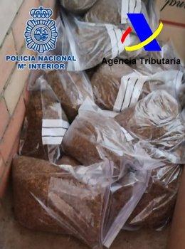 Tabaco aprehendido por los agentes de la Agencia Tributaria y de la Policía Nacional