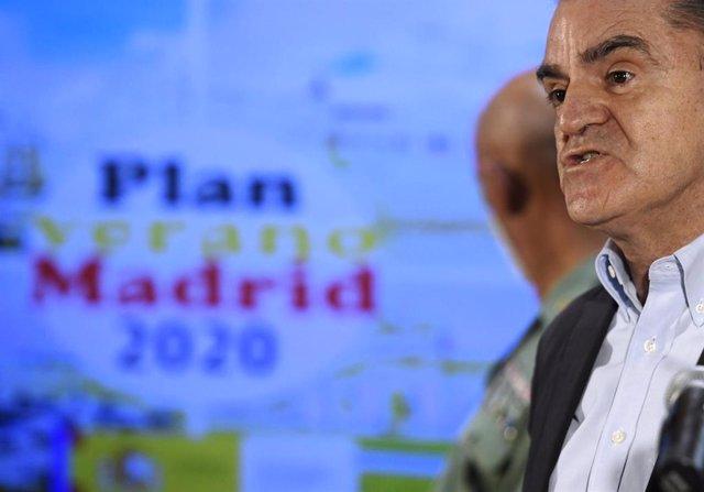 """Imagen de archivo del delegado del Gobierno en Madrid, José Manuel Franco, durante su intervención en la presentación del """"Plan Verano Madrid 2020"""" en materia de seguridad ciudadana, en Madrid (España), a 8 de julio de 2020."""