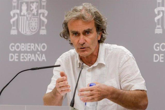 El director del Centro de Coordinación de Alertas y Emergencias Sanitarias, Fernando Simón, ofrece una rueda de prensa para informar de la evolución del Covid-19, en la Sede del Ministerio de Sanidad, en Madrid (España) a 31 de agosto de 2020.